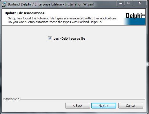Delphi 7 Installation Ассоциация файлов