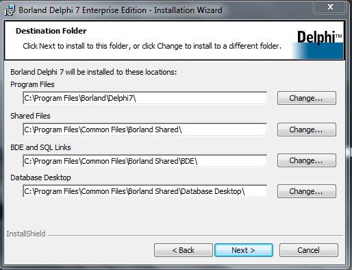 Delphi 7 Installation Директория установки