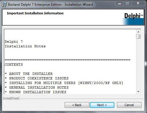 Delphi 7 Installation Информация об установке и минимальные системные требования