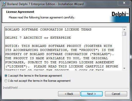 Delphi 7 Installation Лицензионное соглашение