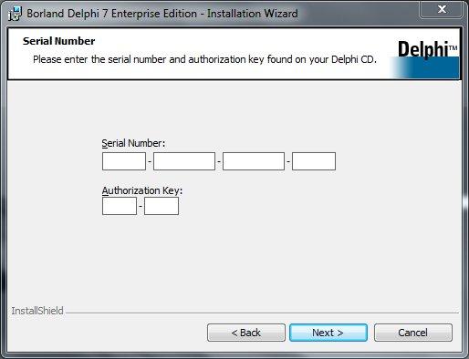 Delphi 7 Installation Серийный номер