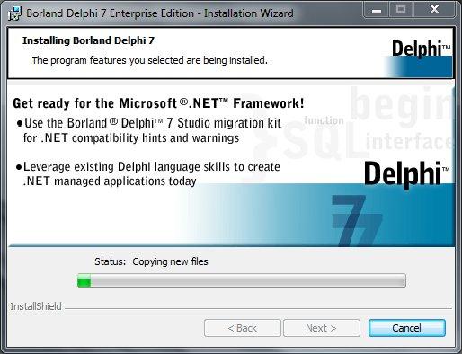 Delphi 7 Installation Статус установки