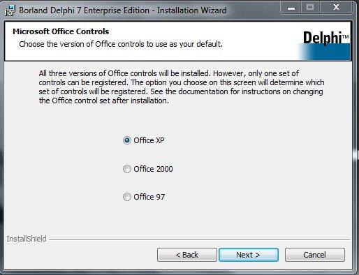 Delphi 7 Installation Выбор операционной системы