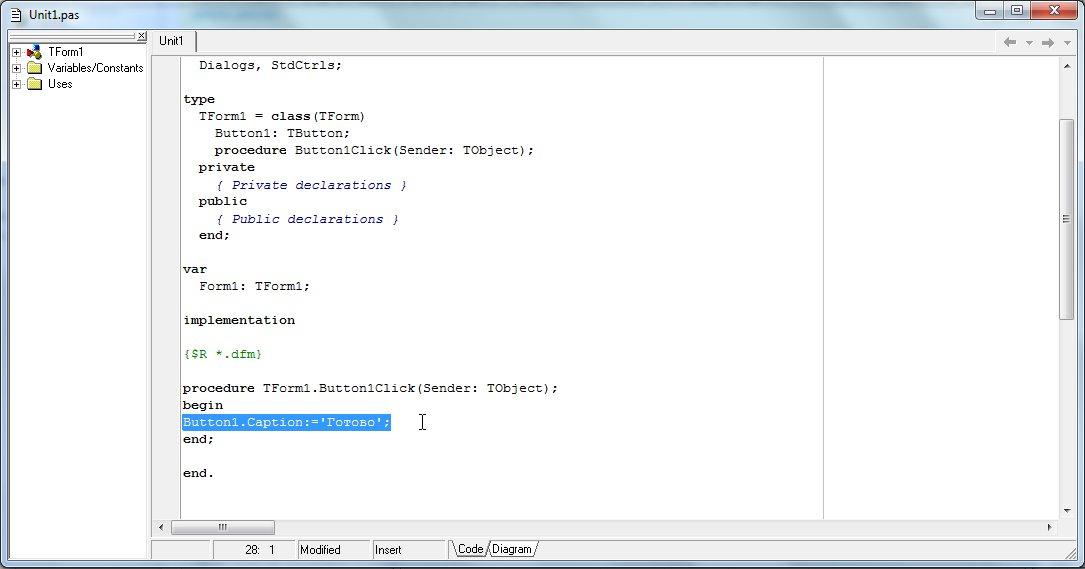 Delphi 7 Редактор кода, где вставляем событие