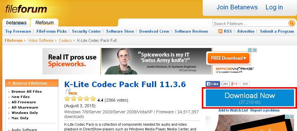 K Lite Codec Pack Нажимаем кнопку для начала загрузки