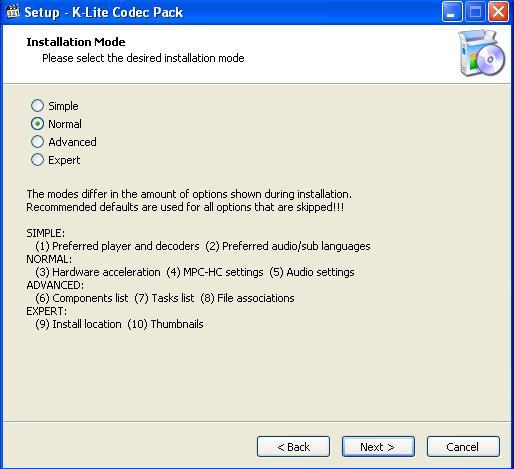K Lite Codec Pack Нормальный режим установки