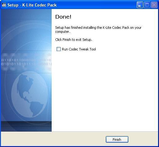 K Lite Codec Pack Снимаем галочку для отказа от запуска настроек кодека