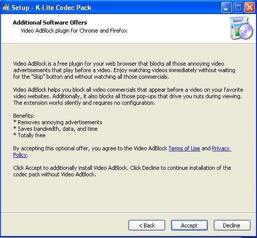 K Lite Codec Pack Установка плагина AdBlock
