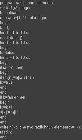 Pascal Количество различных элементов в массиве
