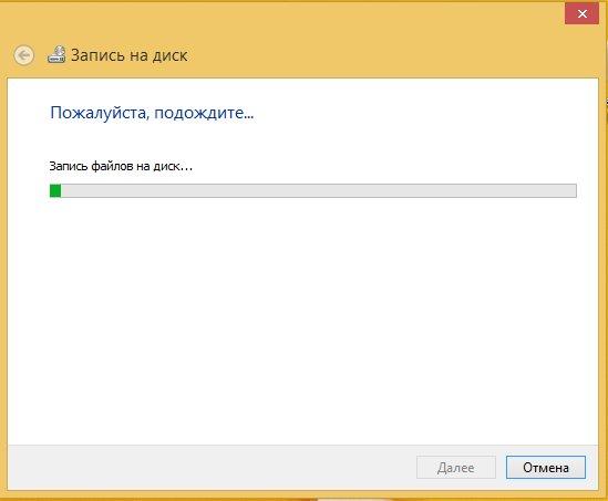 Процесс записи файлов на диск стандартным способом
