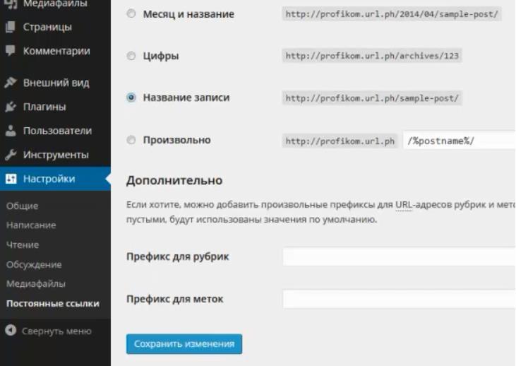 WordPress Постоянные ссылки