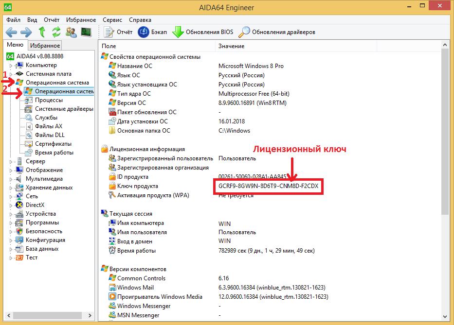 AIDA Отобразить лицензионный ключ Windows