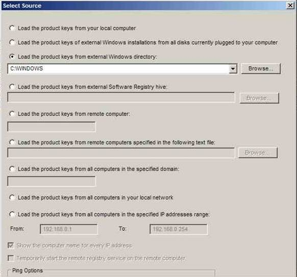 """Программа """"ProduKey"""". Выбор Windows директории для получения лицензионного ключа"""