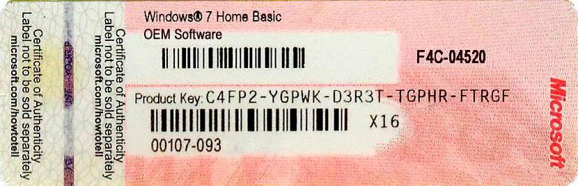 Образец наклейки Windows с лицензионным ключом